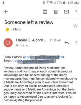 Patrick's review of Dan Alcorn Medicare 101 webinar